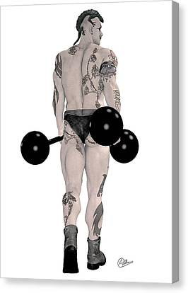 Strongest Man Tattooed Canvas Print by Quim Abella