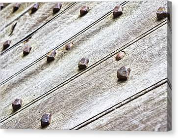 Studded Wooden Surface Canvas Print