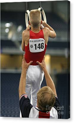Canvas Print featuring the photograph Student And Coach by Jim West