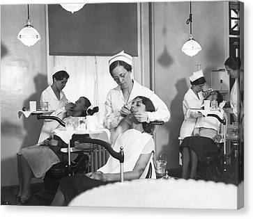 Students At A Dental School Canvas Print by Underwood Archives
