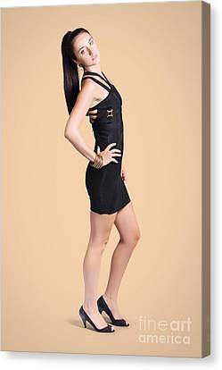 Studio Portrait. Fall Fashion Woman In Black Dress Canvas Print