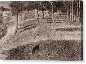 Study For Sunday Afternoon On The Island Of La Grande Jatte Canvas Print by Georges Pierre Seurat