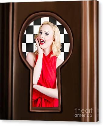 Stylish Surprised Women Portrait. Pinup Secret Canvas Print by Jorgo Photography - Wall Art Gallery
