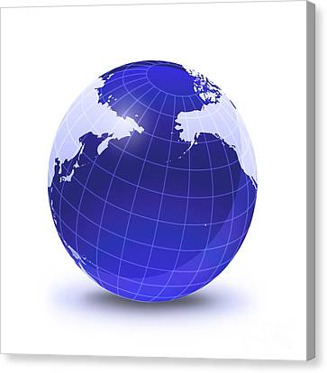 Gloss Canvas Print - Stylized Earth Globe With Grid by Leonello Calvetti