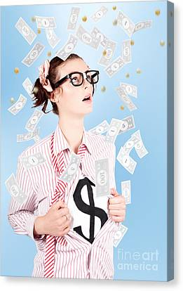 Successful Female Business Superhero Winning Money Canvas Print by Jorgo Photography - Wall Art Gallery
