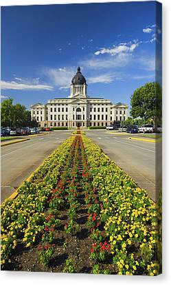 Summer Flower-bed Leading To South Canvas Print