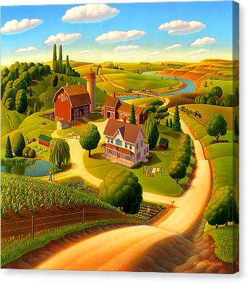 River Canvas Print - Summer On The Farm  by Robin Moline