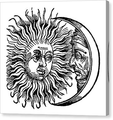 Man In The Moon Canvas Print - Sun And Moon, 1493 by Granger