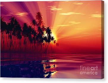 Sun Rays Canvas Print - Sun Rays Inside Coconut Palms by Aleksey Tugolukov