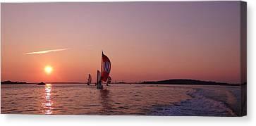 Sun Setting Over Boston Series Canvas Print by Laura Lee Zanghetti