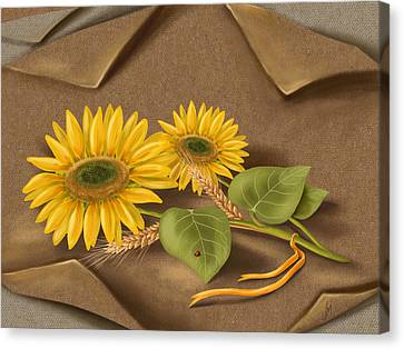 Digital Sunflower Canvas Print - Sunflowers by Veronica Minozzi