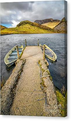 Llyn Y Dywarchen Canvas Print - Sunken Boats by Adrian Evans