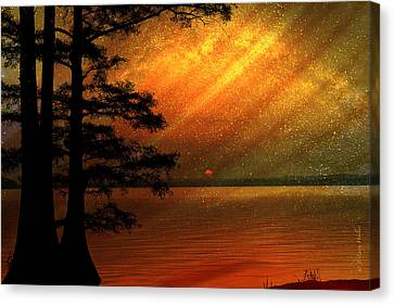 Canvas Print featuring the digital art Sunrise At Reelfoot Lake by J Larry Walker