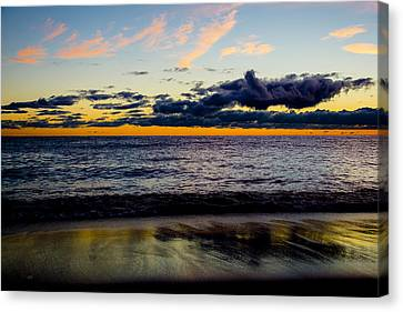 Canvas Print featuring the photograph Sunrise Lake Michigan September 14th 2013 001 by Michael  Bennett