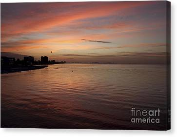 Canvas Print featuring the photograph Sunrise Over Fort Myers Beach Photo by Meg Rousher