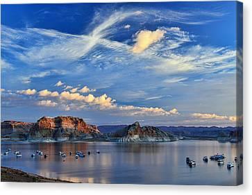 Sunrise Over Lake Powell Az Canvas Print by Dana Sohr