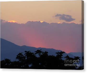 Canvas Print featuring the photograph Sunset 2 by Ze  Di