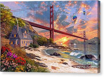 Sunset At Golden Gate Canvas Print by Dominic Davison