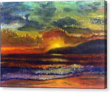 Sunset Beach Canvas Print by Linda Pope