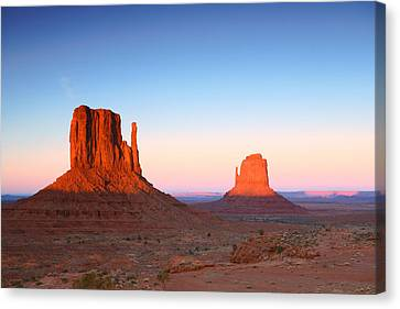 Sunset Buttes In Monument Valley Arizona Canvas Print by Katrina Brown