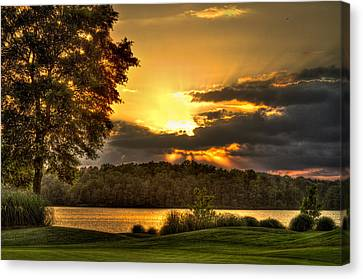 Sunset Golf Hole Lake Oconee Canvas Print by Reid Callaway