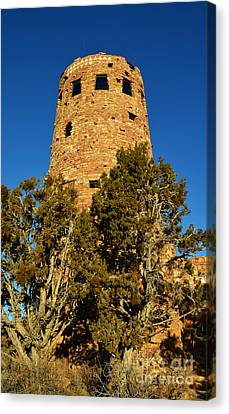 Sunset On Mary Colter Desert View Indian Watchtower Grand Canyon National Park Canvas Print by Shawn O'Brien