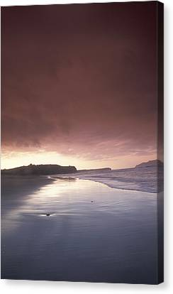Sunset Over Beach At Pasagshak Bay Canvas Print