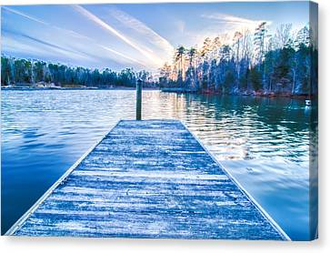 Lake Wylie Canvas Print - Sunset Over Lake Wylie At A Dock by Alex Grichenko