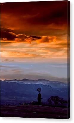 Canvas Print featuring the photograph Sunset Over The Rockies by Kristal Kraft