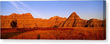 Sunset Panoramic View Of Mountains Canvas Print