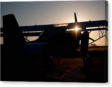 Sunset Plane Canvas Print by Paul Job