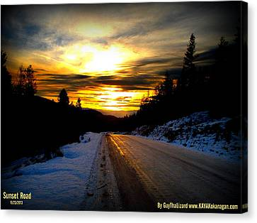 Canvas Print featuring the photograph Sunset Road by Guy Hoffman