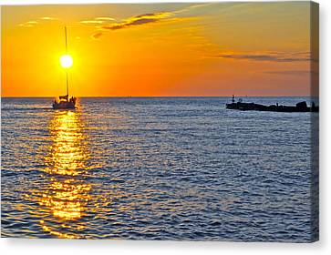 Marvelous View Canvas Print - Sunset Sailing by Frozen in Time Fine Art Photography
