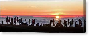 Sunset Tourism On Haleakala Canvas Print by Babak Tafreshi