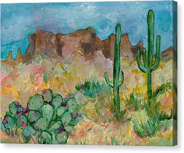 Canvas Print featuring the painting Superstition Mountains Arizona by Elaine Elliott