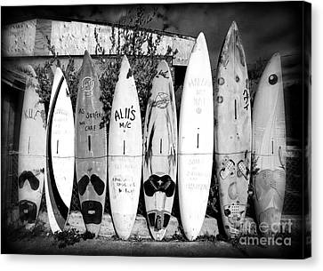 Lessons Canvas Print - Surf Board Fence Maui Hawaii by Edward Fielding