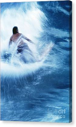 Surfer Carving On Splashing Wave, Interesting Perspective And Blur Canvas Print by Carl Shaneff