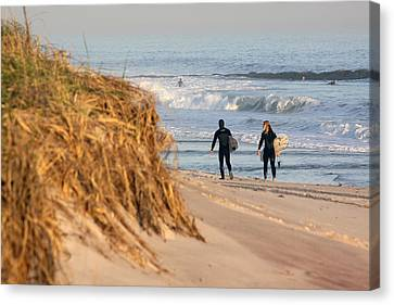 Surfers At Beach Westhampton New York Canvas Print by Bob Savage