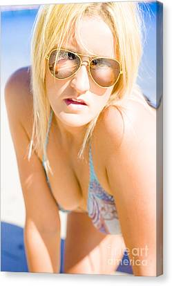 Surprised And Thought Provoked Blond Woman On Beach Canvas Print by Jorgo Photography - Wall Art Gallery
