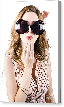 Surprised Beautiful Pin-up Girl. White Background Canvas Print by Jorgo Photography - Wall Art Gallery