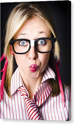 Surprised Business Woman With Thinking Expression Canvas Print by Jorgo Photography - Wall Art Gallery