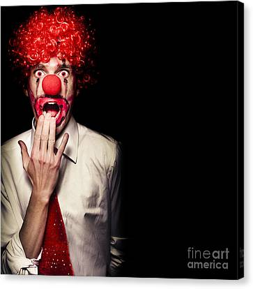Surprised Clown Isolated Over A Black Background Canvas Print
