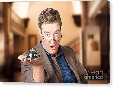 Surprised Customer Holding Retail Service Bell Canvas Print by Jorgo Photography - Wall Art Gallery