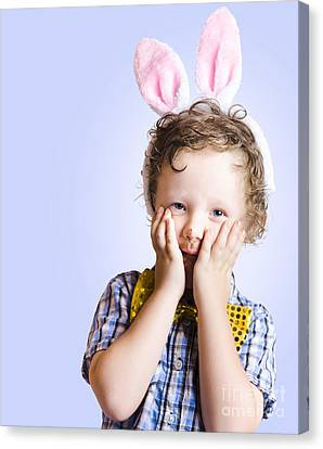 Surprised Easter Kid Looking Shocked Canvas Print by Jorgo Photography - Wall Art Gallery
