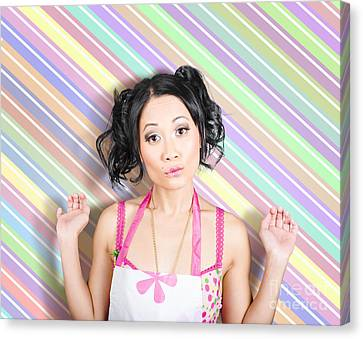 Surprised Housewife On Stripe Copyspace Canvas Print by Jorgo Photography - Wall Art Gallery
