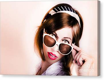 Sexy Brunette Women Canvas Print - Surprised Retro Pop Art Girl Wearing Red Lipstick by Jorgo Photography - Wall Art Gallery