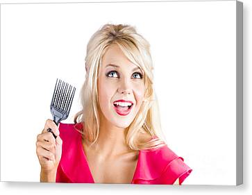 Surprised Woman With Pinup Hair Brush Canvas Print by Jorgo Photography - Wall Art Gallery