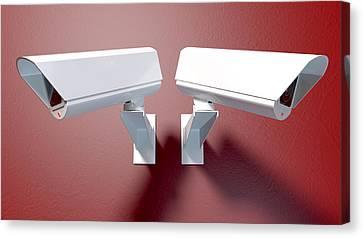 Surveillance Cameras On Red Canvas Print by Allan Swart