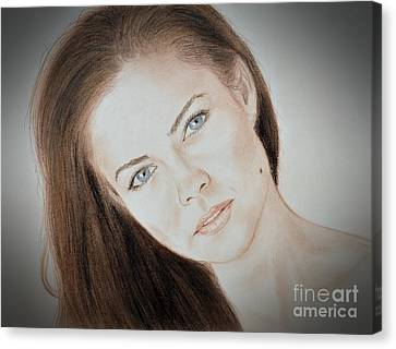 Actress And Model Susan Ward Blue Eyed Beauty With A Mole Canvas Print by Jim Fitzpatrick
