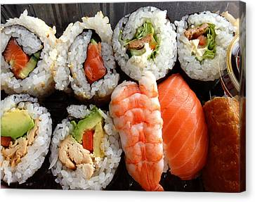 Sushi Canvas Print by Les Cunliffe